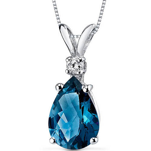"Oravo 2.00 Carat T.G.W Pear-Cut London Blue Topaz and Diamond Accent 14kt White Gold Pendant, 18"" by Oravo"