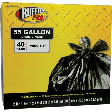 Ruffies Pro Drum Liners, 55 gal, 40 count (Industrial Strength Drum Liners)