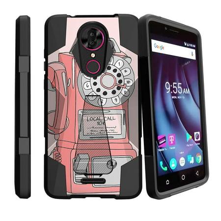 T-Mobile Revvl Plus & CoolPad Revvl Plus Retro Kickstand Case [ Slim Hybrid Design Case for T-Mobile Revvl Plus ] Phone Dial Design Case for T-Mobile Revvl Plus - Rotary Pay Phone
