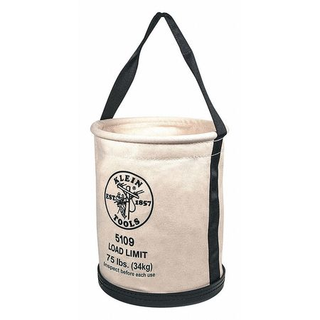 KLEIN TOOLS Bucket,12Wx15H,#6 Canvas,Wide-Opening 5109P