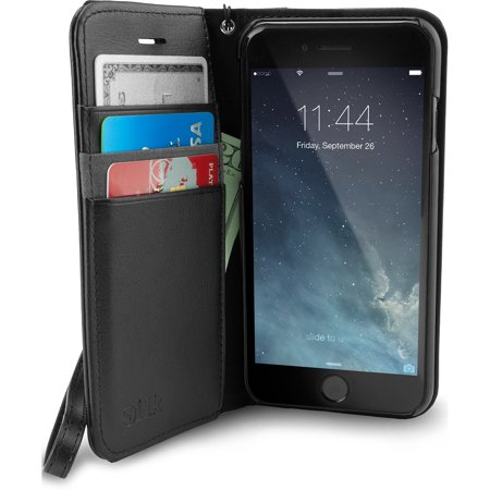 Silk iPhone 7/8 Wallet Case - Folio Wallet for iPhone 7/8 [Synthetic Leather Kickstand Flip Cover] - Black Onyx