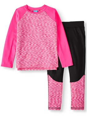Rainbeau Space-Dye Long Sleeve & Fleece Performance Legging 2-Piece Active Set (Big Girls & Little Girls)