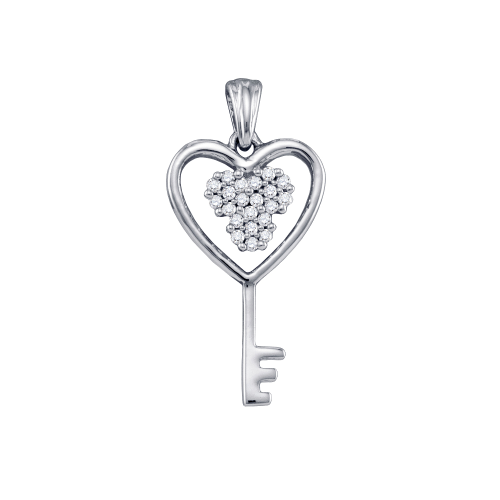 10k White Gold Round Diamond Cluster Key Heart Pendant 1/...
