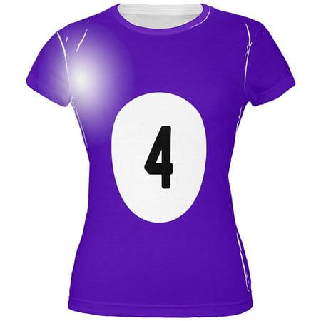 Halloween Billiard Pool Ball Four Costume Juniors T Shirt (Halloween Pool Dye)