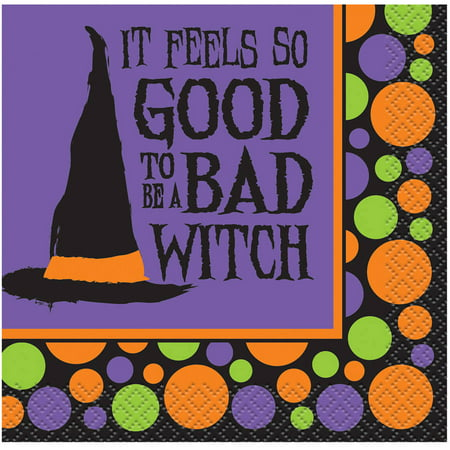 Bad Witch Halloween Paper Cocktail Napkins, 5 in, 16ct