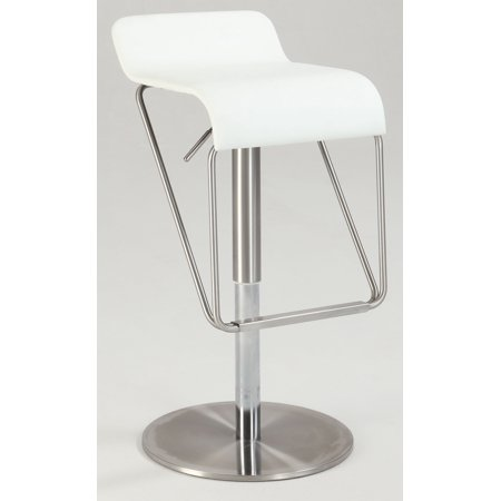 1638 Bella Vita Low Back Pneumatic Gas Lift Adjustable Stool in White