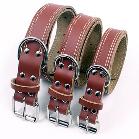 CoreLife Vegan Leather Dog Collar, Premium Walking / Training Padded Dog Collars for Small Medium Large Dogs Puppies Plain Leather