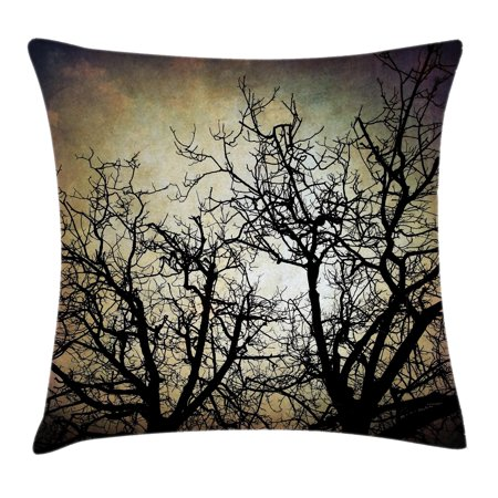 Horror Throw Pillow Cushion Cover, Scary Twilight Scene with Grunge Tree Branch Silhouette over Dirty Night Sky Image, Decorative Square Accent Pillow Case, 16 X 16 Inches, Sepia Black, by Ambesonne (Scary Silhouette)