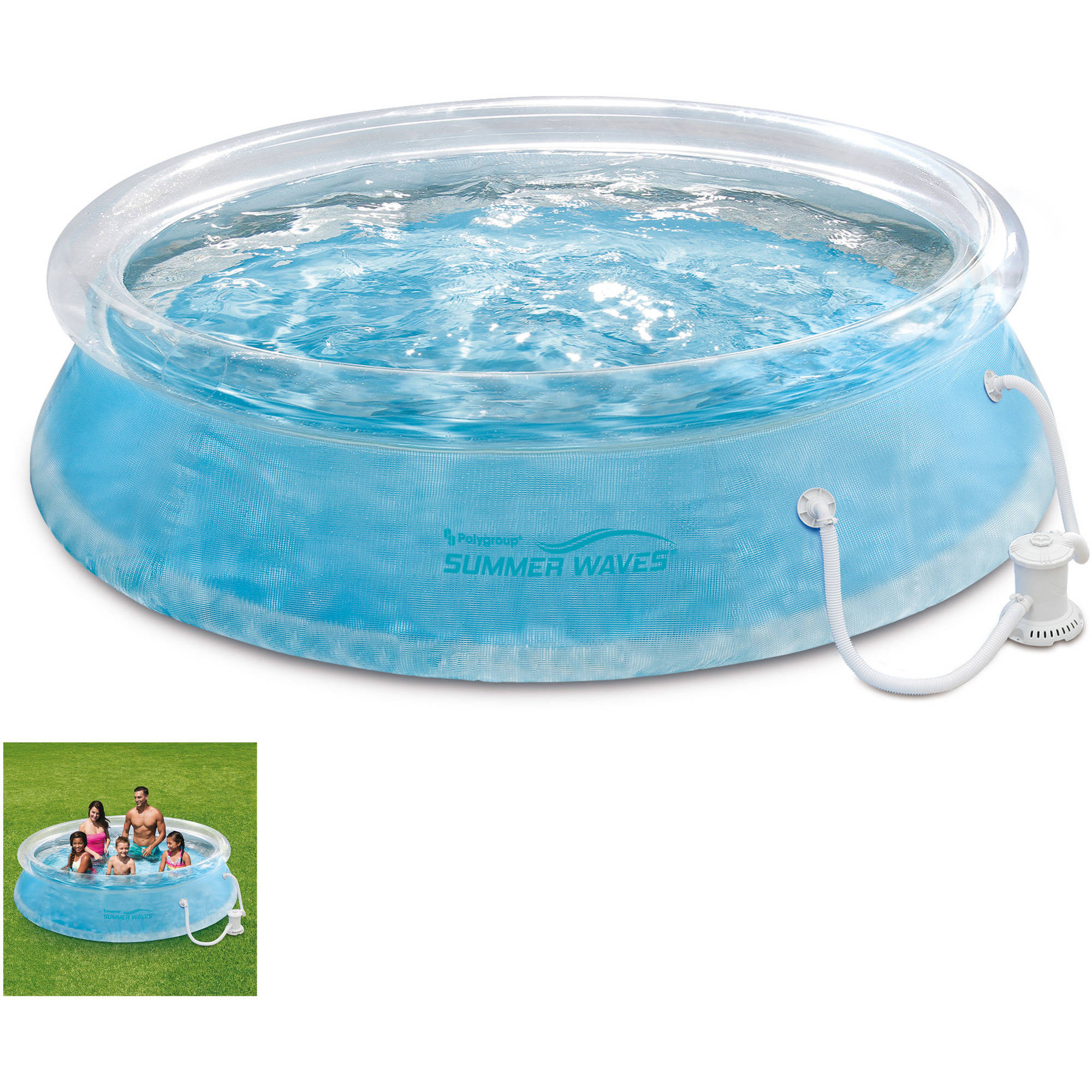 swimming pool round easy set up inflatable filter pump kit simple backyard kids ebay. Black Bedroom Furniture Sets. Home Design Ideas
