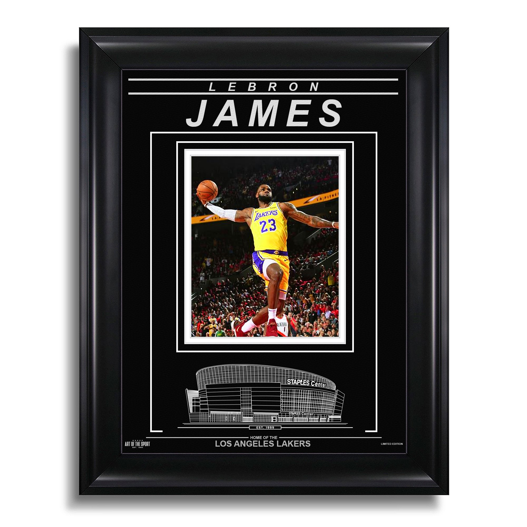 check out bef93 1bf3d LeBron James Los Angeles Lakers Engraved Framed Photo - Signature Dunk