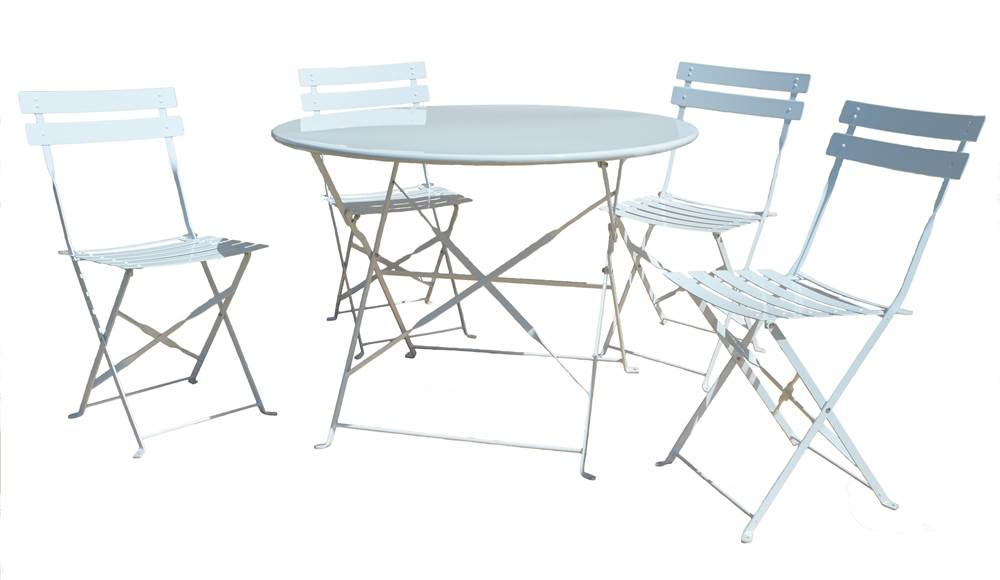 5-Pc Bistro Set in Bright White by Carolina Chair and Table Company