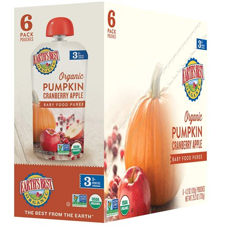 Earth's Best Organic Stage 3, Pumpkin, Cranberry & Apple, 4.2 Ounce Pouch (Pack of