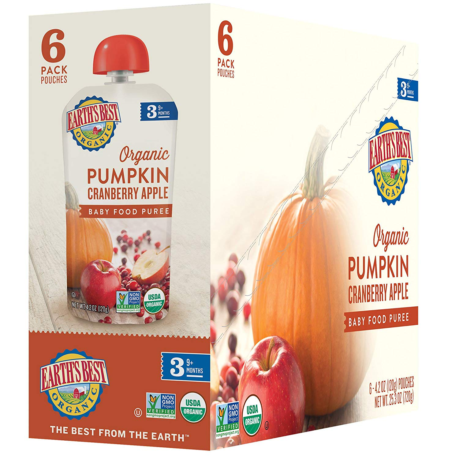 Earth's Best Organic Stage 3, Pumpkin, Cranberry & Apple, 4.2 Ounce Pouch (Pack of 6)