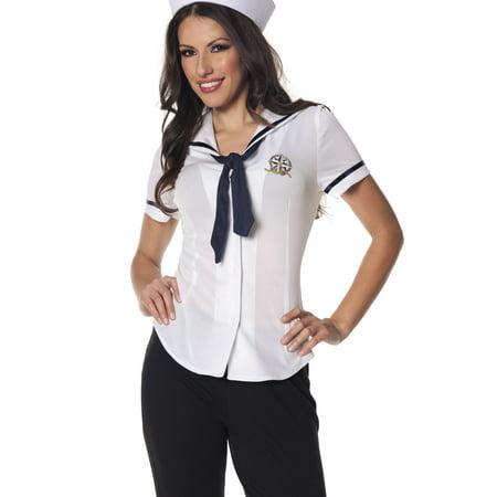 Sailor Fitted Womens Adult Navy Cadet Halloween Costume Shirt - Navy Costume Women