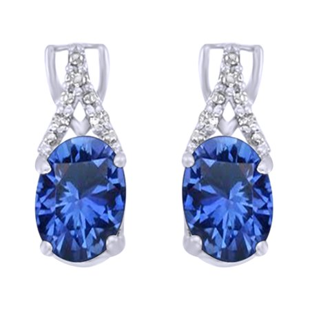 Oval Cut Simulated Blue Sapphire With Natural Diamond Drop Earrings In 14K Solid White Gold