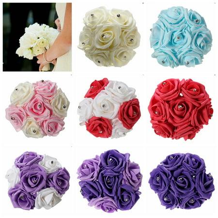 Crystal Double Flower - 1 Bunch Aartificial Rose Flower Craft Flower Bridal Rhinestone Crystal Bouquet Wedding Party Decor