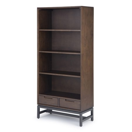 Brooklyn + Max Argyle Solid Hardwood and Metal 66 inch x 30 inch Modern Industrial Bookcase in Walnut Brown Solid Hardwood Base Unit