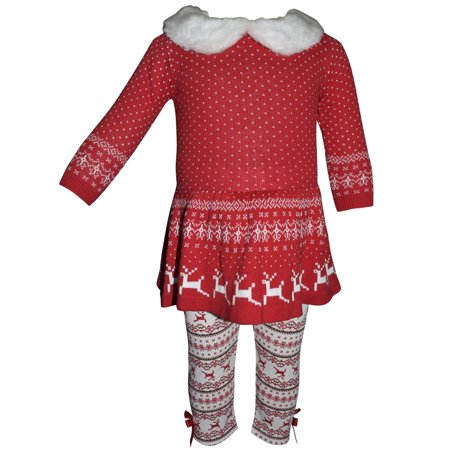 Blueberi Boulevard Fur Trim Fairisle Holiday Tunic and Legging, 2-Piece Outfit Set (Little Girls)