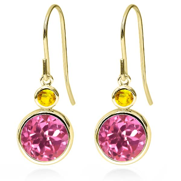 4.96 Ct Round Pink Mystic Topaz Yellow Sapphire 14K Yellow Gold Earrings by Yellow-Gold Pins