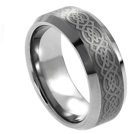 TK Rings 228TR-8mmx9.0 8 mm Laser Engraved Celtic Pattern Tungsten Ring - Size 9 - image 1 of 1