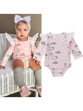 14dc5138d16 Product Image Toddler Infant Baby Girl Cartoon Swan Lace Romper Jumpsuit  Cute Printed Outfits Clothes 0-24M