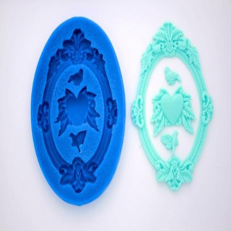 FRAME DOVES HEARTS SILICONE MOLD FOR FONDANT, GUM PASTE, ...