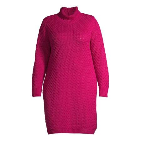Terra & Sky Women's Plus Size Honeycomb Turtleneck Sweater Dress