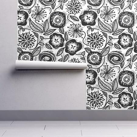Peel And Stick Removable Wallpaper Floral Floral Black White Floral Flower Folk