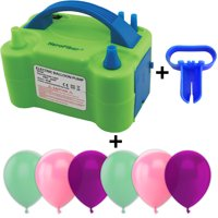 Electric Balloon Pump w/Tying Tool and 90 Balloons, 12 inch, 3 Colors - 30 Aqua, 30 Pink, and 30 Plum. Lightweight Inflator has Two Nozzles to Make Blowing Quick and Easy