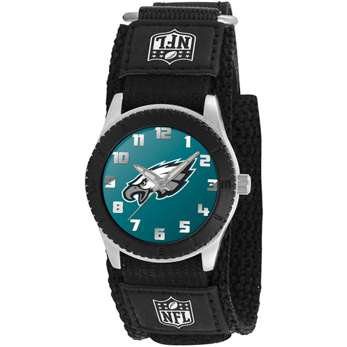 Game Time NFL Kids' Philadelphia Eagles Rookie Series Watch, Black Velcro Strap