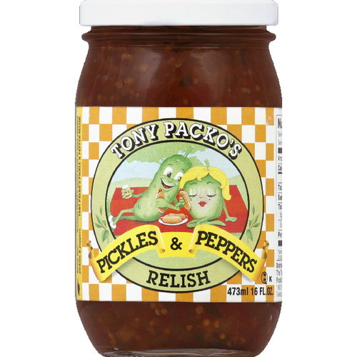 Tony Packo's Pickles And Peppers Relish, 16 fl oz (Pack of 6)
