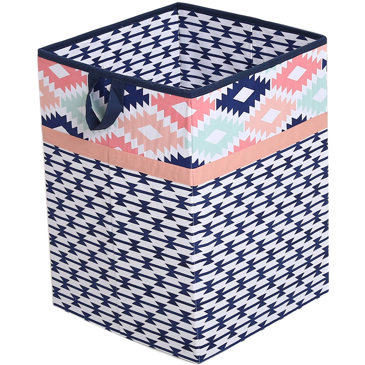 Bacati Aztec Emma Coral Mint Navy Cotton Percale Fabric covered Storage, Collapsible Hamper, 18 H x 13 W x 13... by Bacati