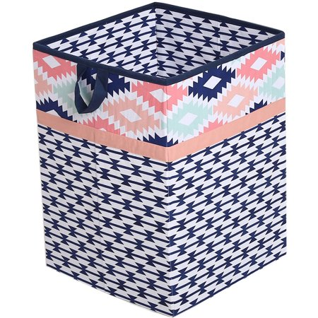 Bacati - Aztec Emma Coral/Mint/Navy Cotton Percale Fabric covered Storage, Collapsible Hamper, 18 H x 13 W x 13 L inches