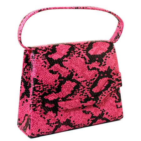 - Pink & Black Snake-Skin Print Fashion Hand Bag Clutch Purse With Magnetic Snap Closure PS486