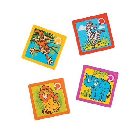 Fun Express - Zoo Animal Slide Puzzles - Toys - Games - Puzzle Games & Mind Teasers - 12 Pieces Mind Teaser Puzzles