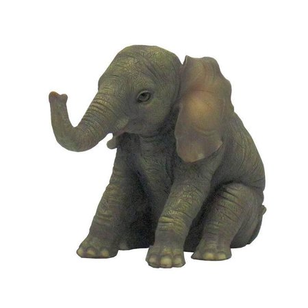 Veronese Design WU70215FB Baby Elephant Sitting and Facing Ahead (Baby Sculpture)