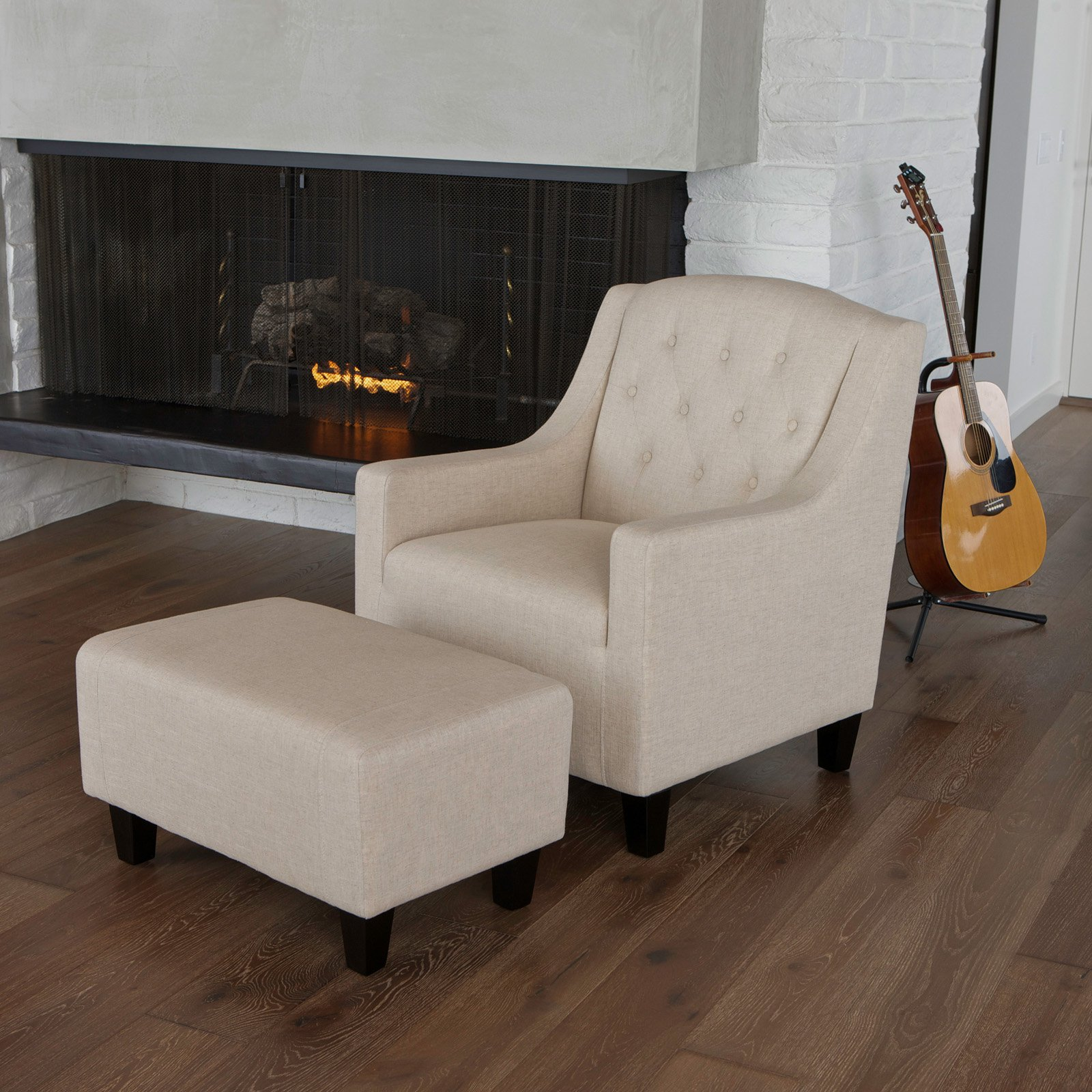 Elaine Tufted Fabric Club Chair and Ottoman - Beige