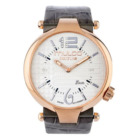 Pearl Gray Leather - Mulco MW53183213 Women's Grey Leather Band With Mother Of Pearl Dial Watch NWT