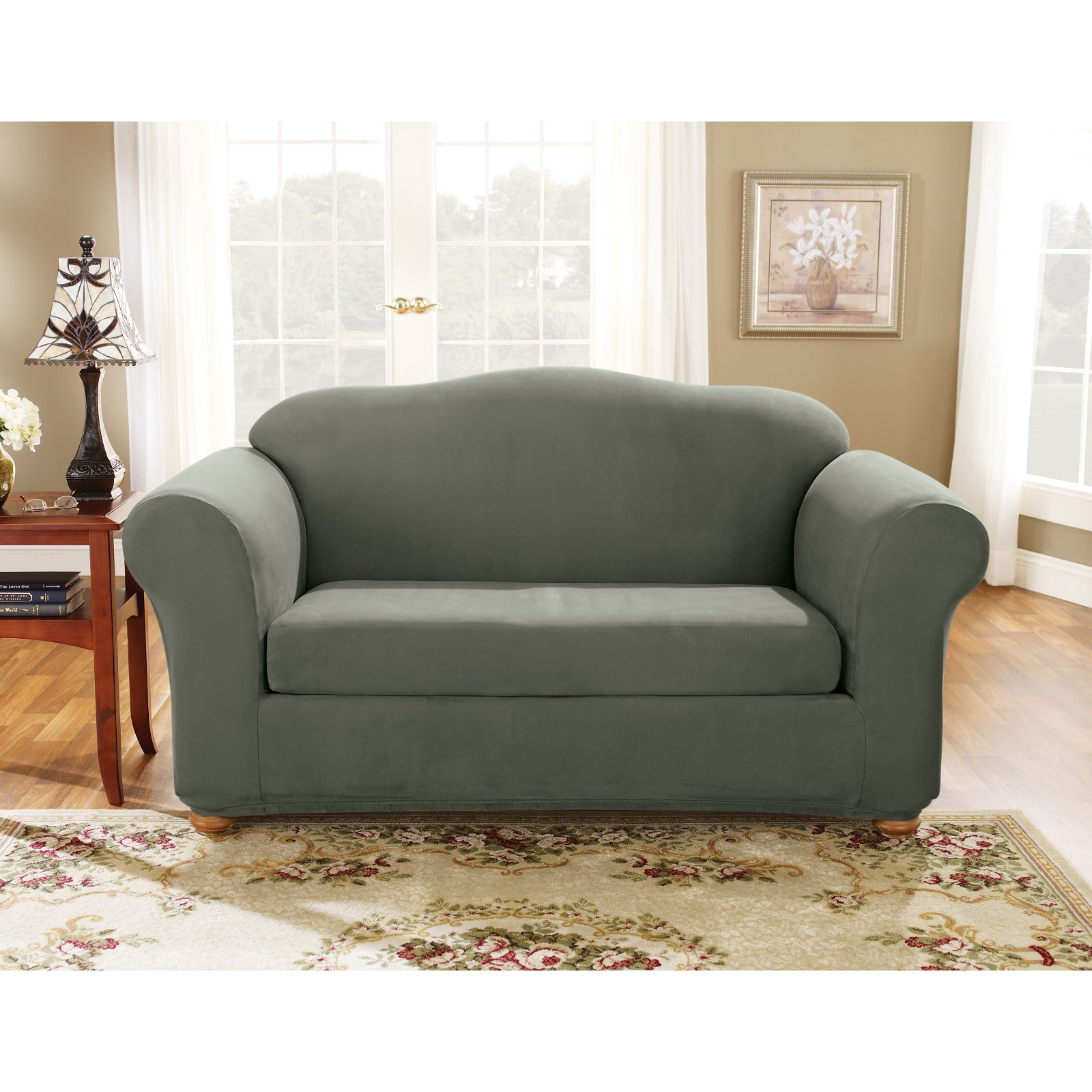 Sure Fit Stretch Suede 2-Piece Sofa Slipcover