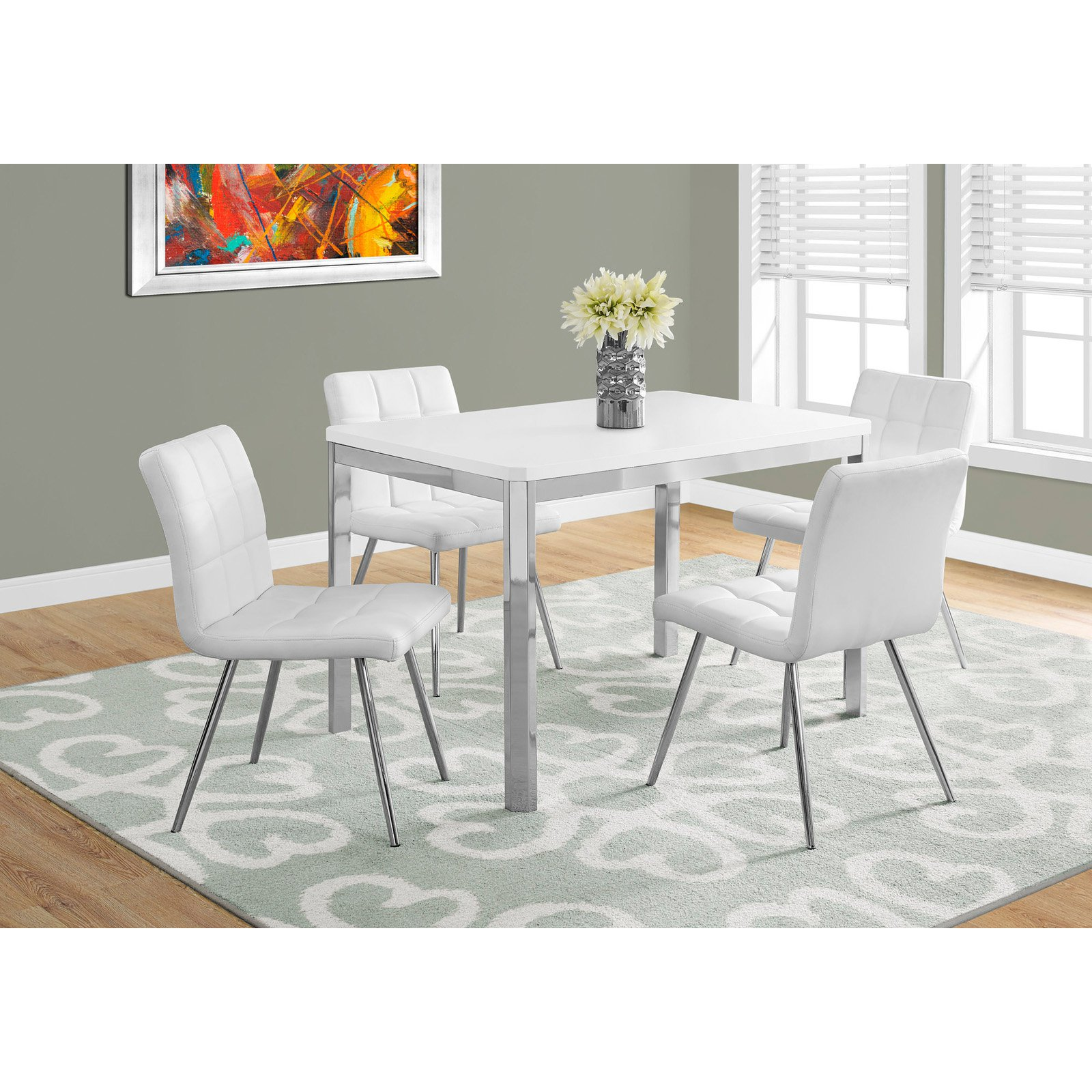 Monarch Specialties 48 in. Rectangular Dining Table - White/Chrome