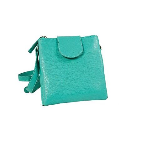 Sanis Enterprises Teal Double Zipper Cross Body Handbag Ana Collection, 7
