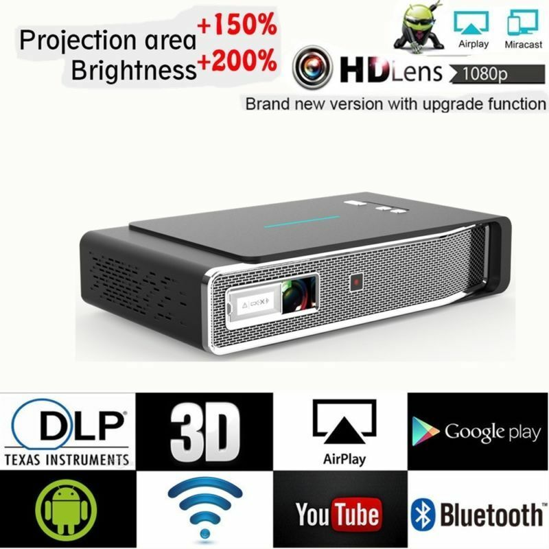 Portable Mini 1080P HD DLP 3D WiFi Projector Airplay Home Theater Movie HDMI USB