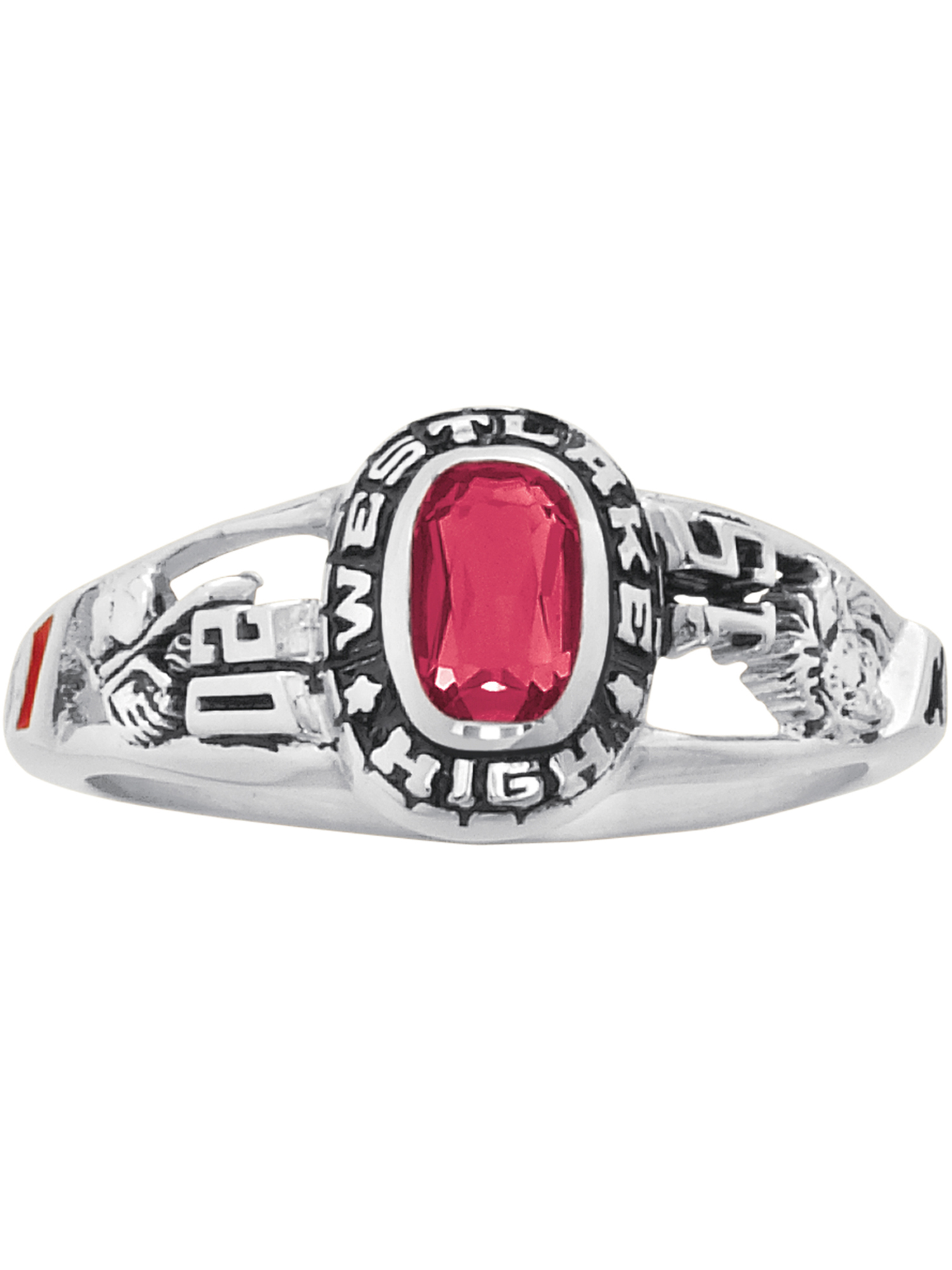 Keepsake Personalized Women's Viva Fashion Class Ring available in Valadium Metals, Silver Plus, and Yellow and White Gold