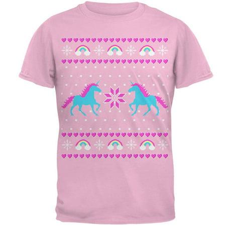 Unicorn Rainbow Ugly Christmas Sweater Mens T Shirt - Ugly Christmas Sweater T-shirt