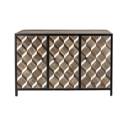 Decmode Contemporary Wooden Rectangular 3-Door Cabinet, Brown
