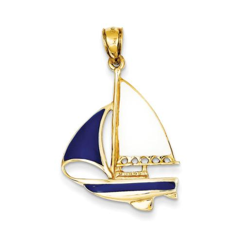 14k Yellow Gold 2-D Blue and White Enameled Sailboat Pendant