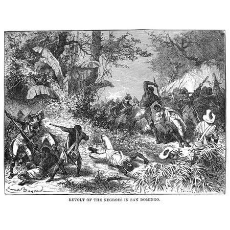 Haiti Revolt 1791 Nthe Slave Revolt In The Then French Colony Of Saint Domingue  Haiti  Hispaniola 1791 Wood Engraving 19Th Century Rolled Canvas Art     18 X 24