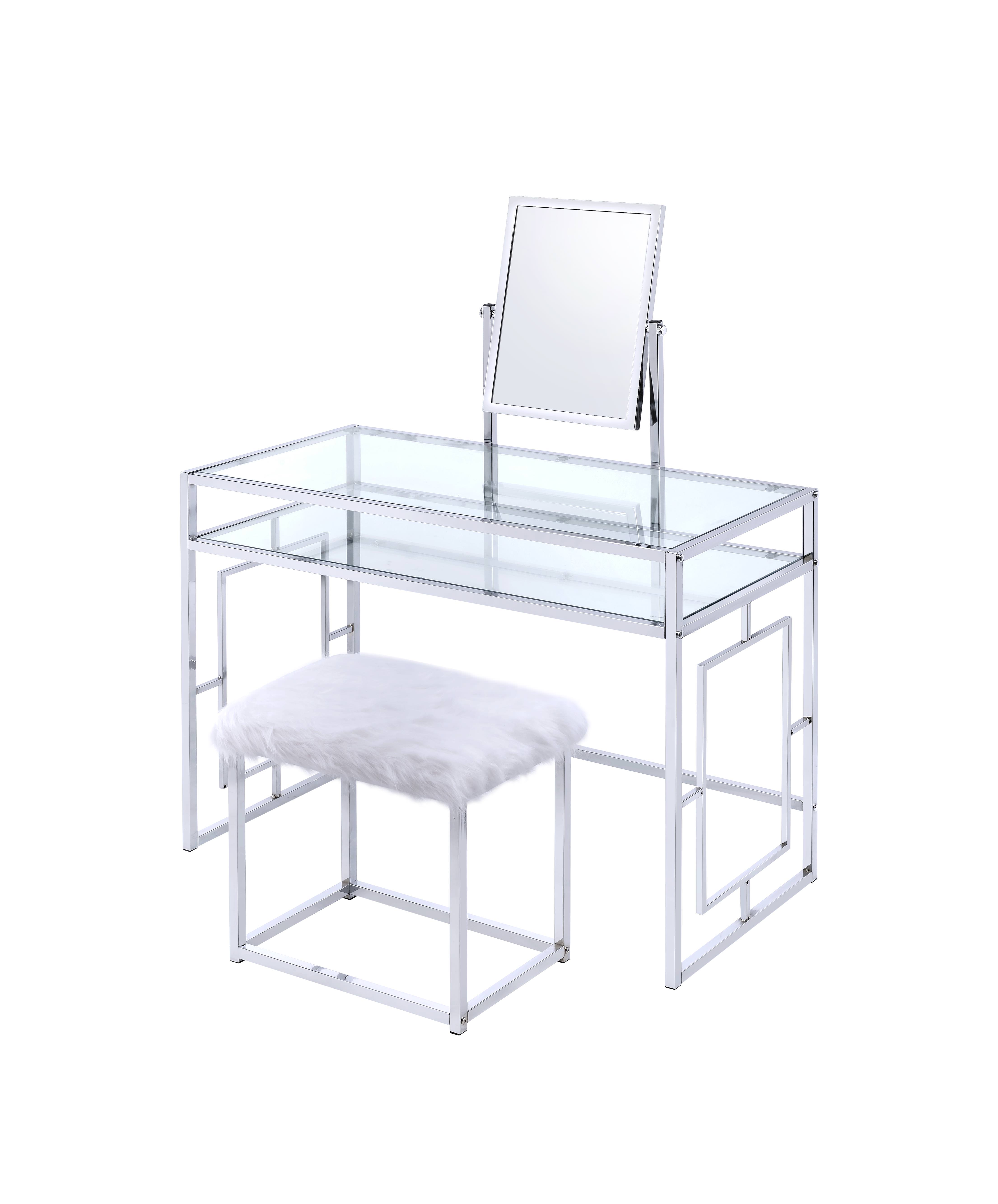 ACME Josh Vanity Table, Mirror, and Stool in White and Chrome by Acme Furniture