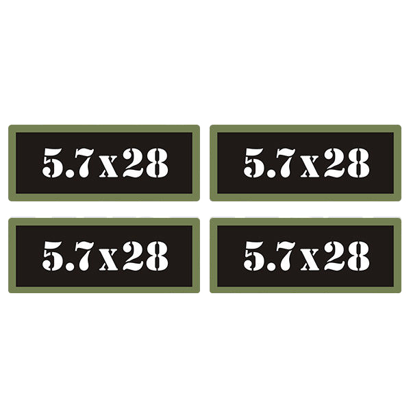 "5.7x28 Ammo Can 4 Pack 3"" Black Sticker Gun Ammunition Box Case Decal"