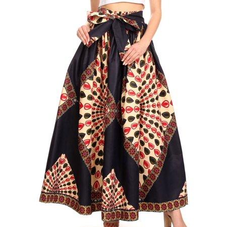African Print Skirt (Sakkas Ami Women's Maxi Long African Ankara Print Skirt Pockets & Elastic Waist - 122-NavyBeigeMulti - One Size Regular)